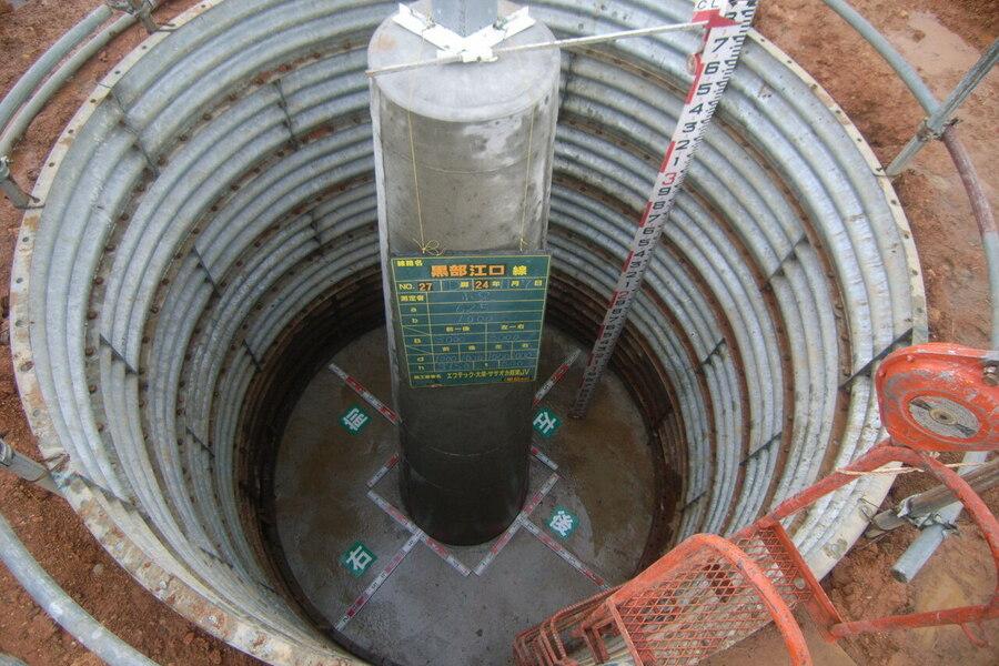 鉄塔の基礎1脚の仕上がり写真です。